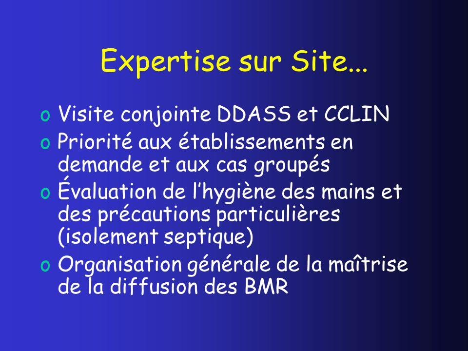 Expertise sur Site... oVisite conjointe DDASS et CCLIN oPriorité aux établissements en demande et aux cas groupés oÉvaluation de lhygiène des mains et