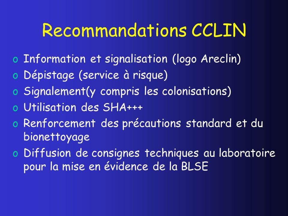 Recommandations CCLIN oInformation et signalisation (logo Areclin) oDépistage (service à risque) oSignalement(y compris les colonisations) oUtilisatio