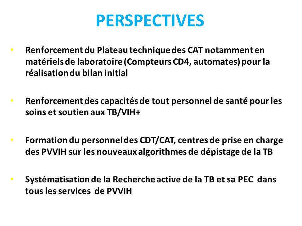 PERSPECTIVES Renforcement du Plateau technique des CAT notamment en matériels de laboratoire (Compteurs CD4, automates) pour la réalisation du bilan i