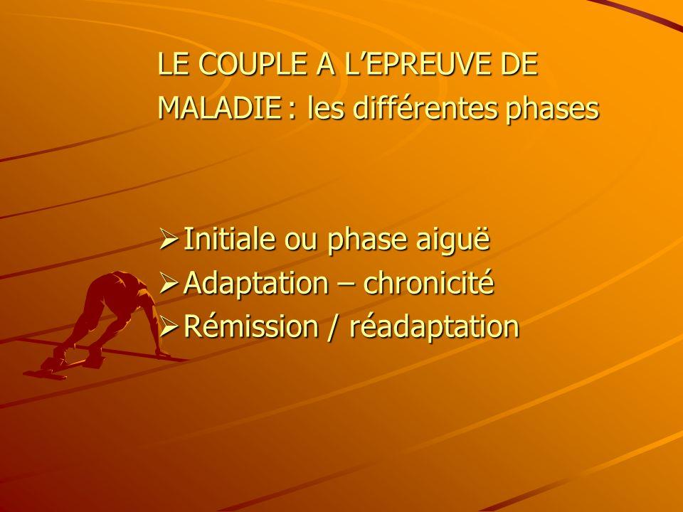 LE COUPLE A LEPREUVE DE MALADIE : les différentes phases Initiale ou phase aiguë Initiale ou phase aiguë Adaptation – chronicité Adaptation – chronici