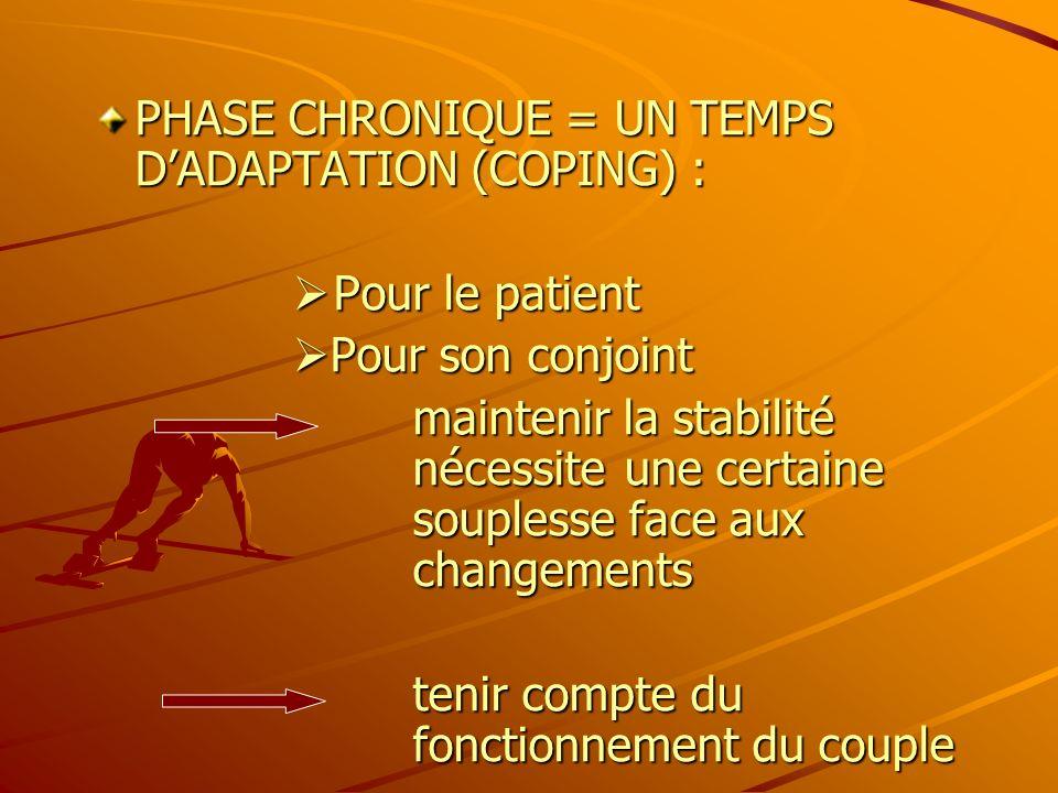 PHASE CHRONIQUE = UN TEMPS DADAPTATION (COPING) : P our le patient P our le patient Pour son conjoint Pour son conjoint maintenir la stabilité nécessi