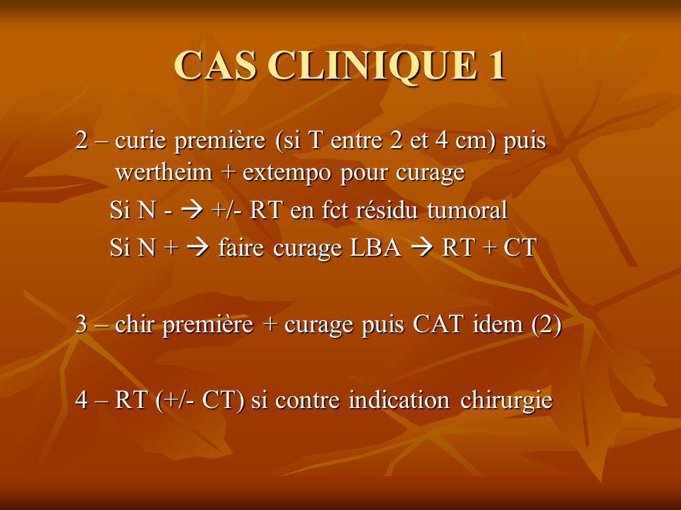 CAS CLINIQUE 1 2 – curie première (si T entre 2 et 4 cm) puis wertheim + extempo pour curage Si N - +/- RT en fct résidu tumoral Si N + faire curage L