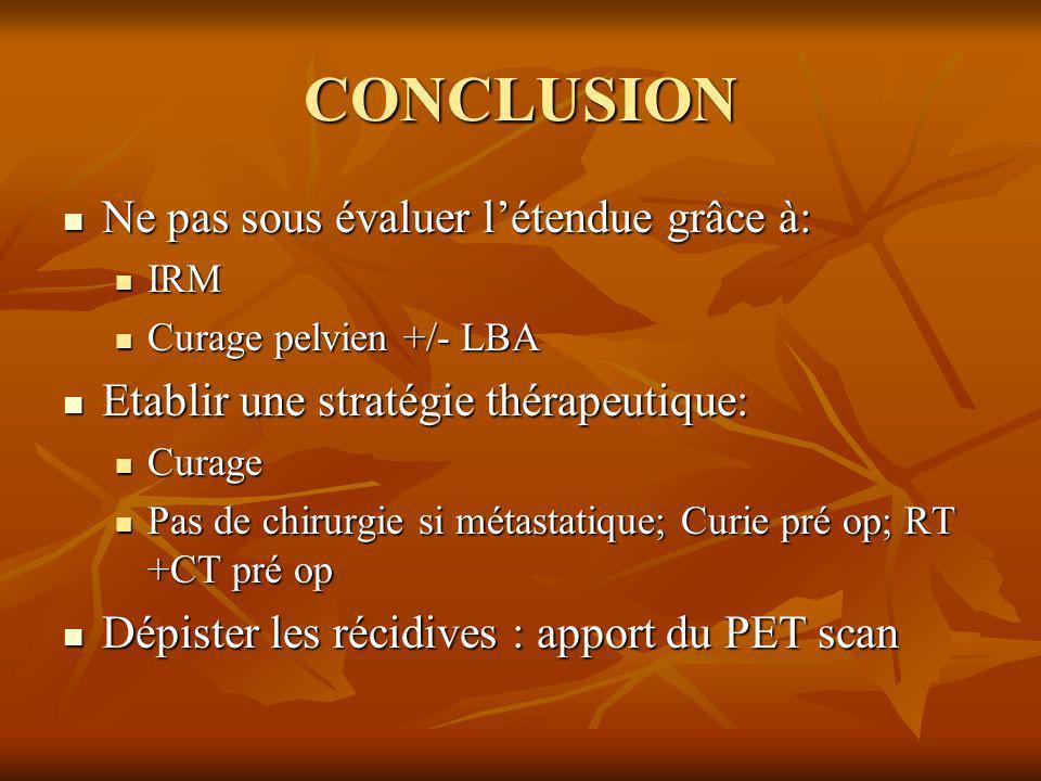 CONCLUSION Ne pas sous évaluer létendue grâce à: Ne pas sous évaluer létendue grâce à: IRM IRM Curage pelvien +/- LBA Curage pelvien +/- LBA Etablir u