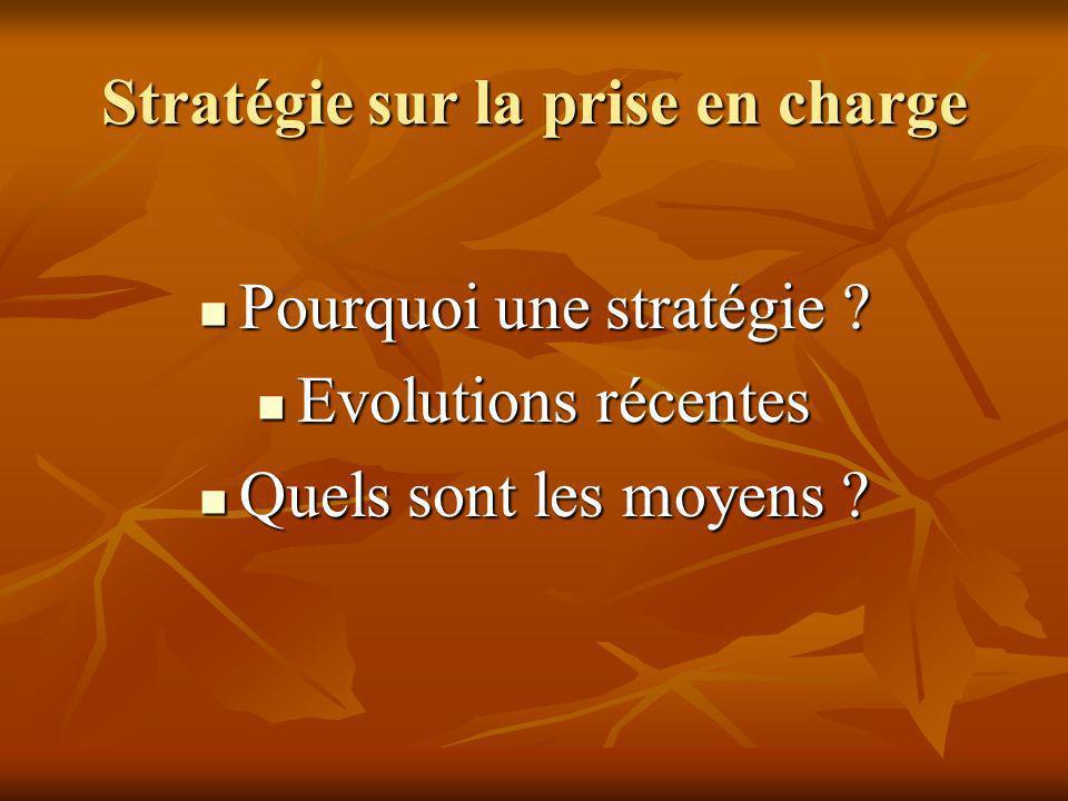 Stratégie sur la prise en charge Pourquoi une stratégie ? Pourquoi une stratégie ? Evolutions récentes Evolutions récentes Quels sont les moyens ? Que