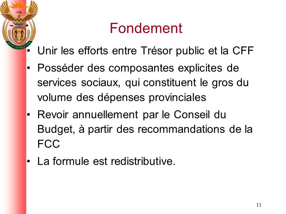11 Fondement Unir les efforts entre Trésor public et la CFF Posséder des composantes explicites de services sociaux, qui constituent le gros du volume des dépenses provinciales Revoir annuellement par le Conseil du Budget, à partir des recommandations de la FCC La formule est redistributive.