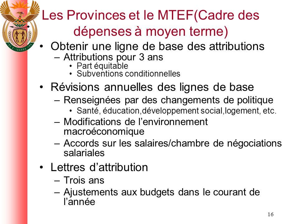 16 Les Provinces et le MTEF(Cadre des dépenses à moyen terme) Obtenir une ligne de base des attributions –Attributions pour 3 ans Part équitable Subventions conditionnelles Révisions annuelles des lignes de base –Renseignées par des changements de politique Santé, éducation,développement social,logement, etc.