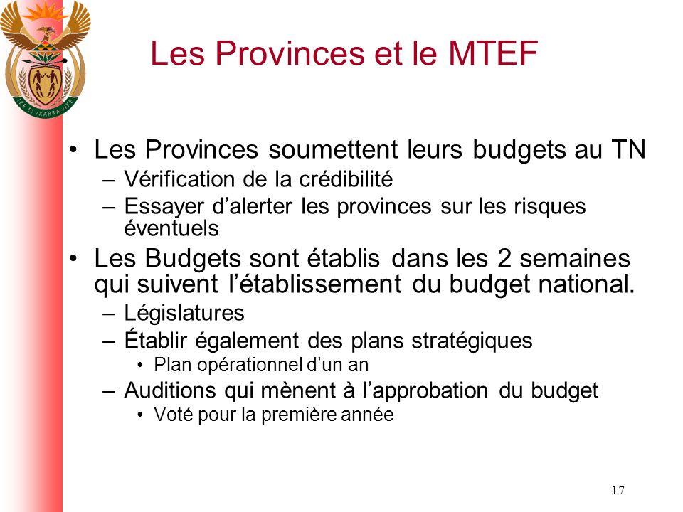 17 Les Provinces et le MTEF Les Provinces soumettent leurs budgets au TN –Vérification de la crédibilité –Essayer dalerter les provinces sur les risques éventuels Les Budgets sont établis dans les 2 semaines qui suivent létablissement du budget national.