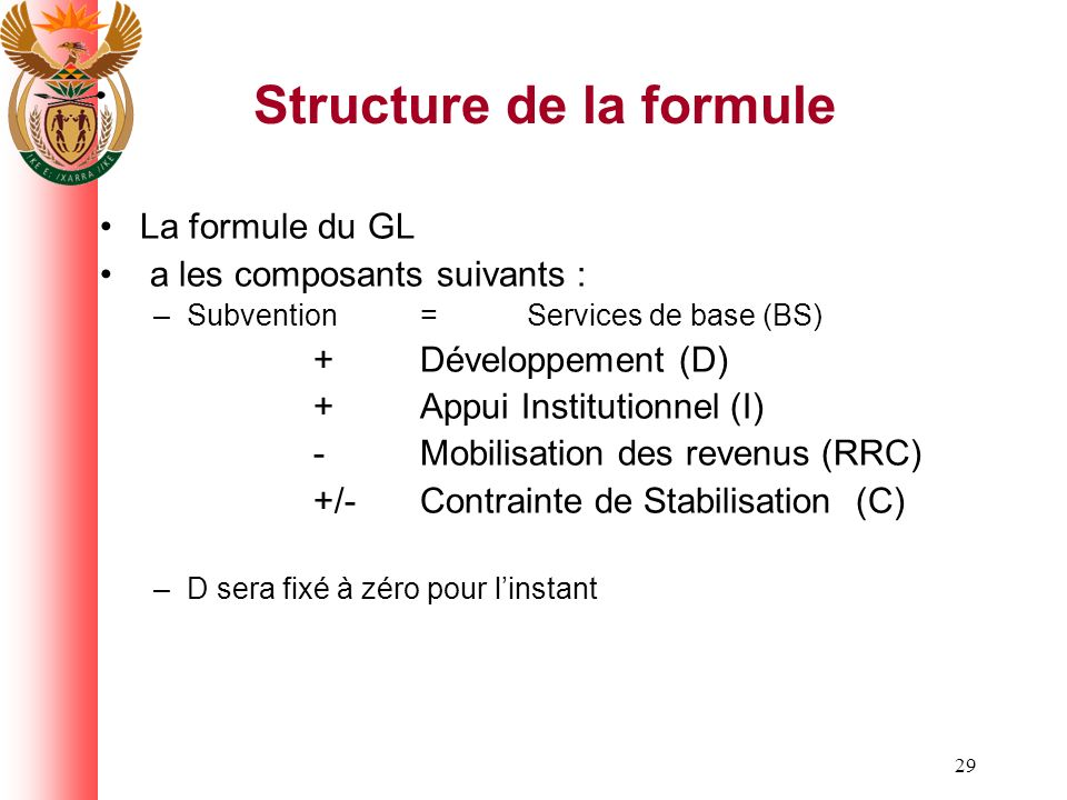 29 Structure de la formule La formule du GL a les composants suivants : –Subvention = Services de base (BS) +Développement (D) +Appui Institutionnel (