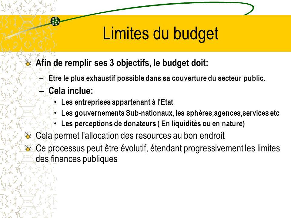 Vue d ensemble Le budget doit remplir 3 fonctions –Dépenses, taxes et emprunts doivent être en adéquation avec les objectifs économiques –Les resources doivent être octroyées aux priorités politiques –Le budget et l information sur le budget doivent constituer des outils d amélioration de la qualité et de l efficacité des dépenses.
