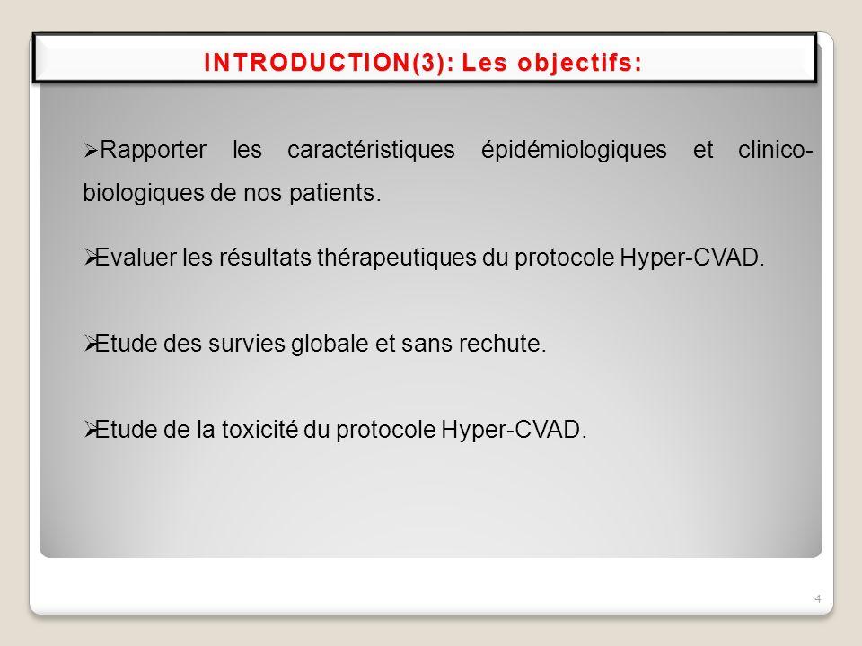 4 Evaluer les résultats thérapeutiques du protocole Hyper-CVAD. Etude des survies globale et sans rechute. Etude de la toxicité du protocole Hyper-CVA
