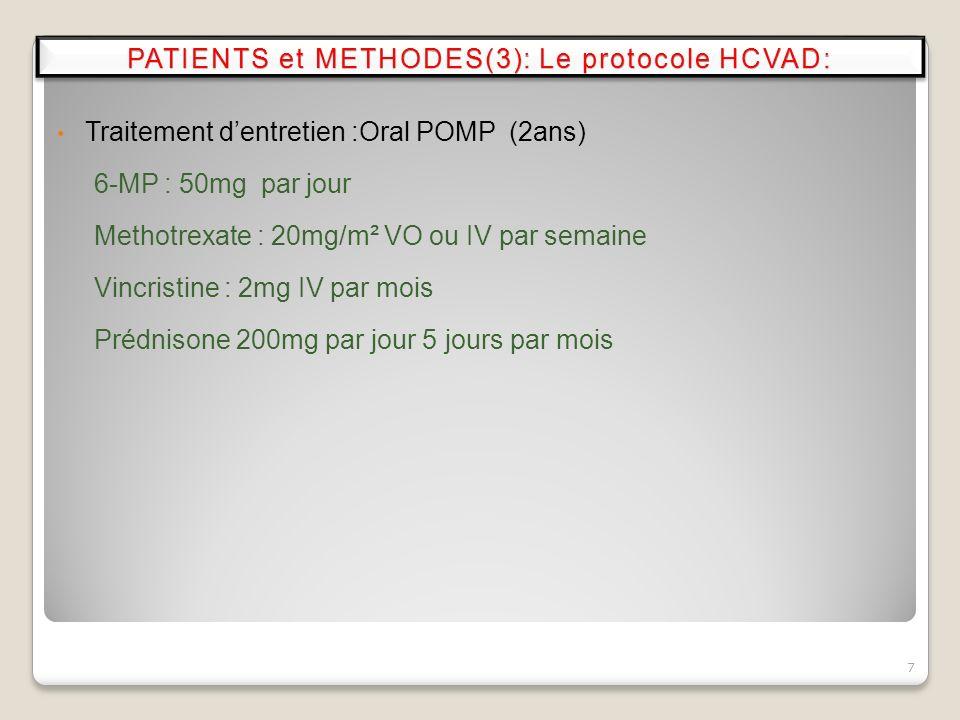 Traitement dentretien :Oral POMP (2ans) 6-MP : 50mg par jour Methotrexate : 20mg/m² VO ou IV par semaine Vincristine : 2mg IV par mois Prédnisone 200m