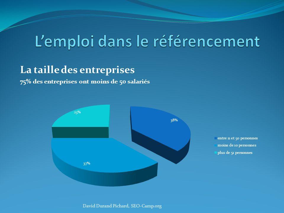 La taille des entreprises 75% des entreprises ont moins de 50 salariés David Durand Pichard, SEO-Camp.org