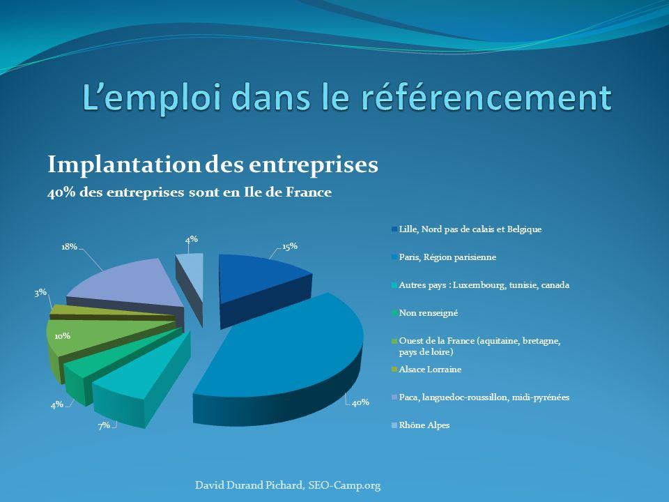 Implantation des entreprises 40% des entreprises sont en Ile de France David Durand Pichard, SEO-Camp.org