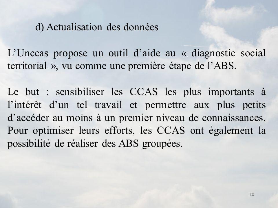 10 d) Actualisation des données LUnccas propose un outil daide au « diagnostic social territorial », vu comme une première étape de lABS. Le but : sen