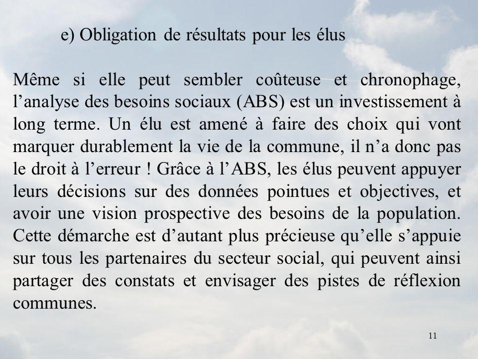 11 e) Obligation de résultats pour les élus Même si elle peut sembler coûteuse et chronophage, lanalyse des besoins sociaux (ABS) est un investissemen