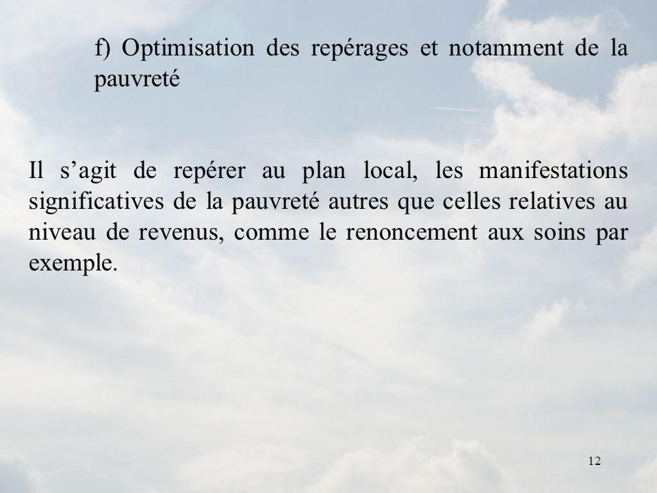12 f) Optimisation des repérages et notamment de la pauvreté Il sagit de repérer au plan local, les manifestations significatives de la pauvreté autre