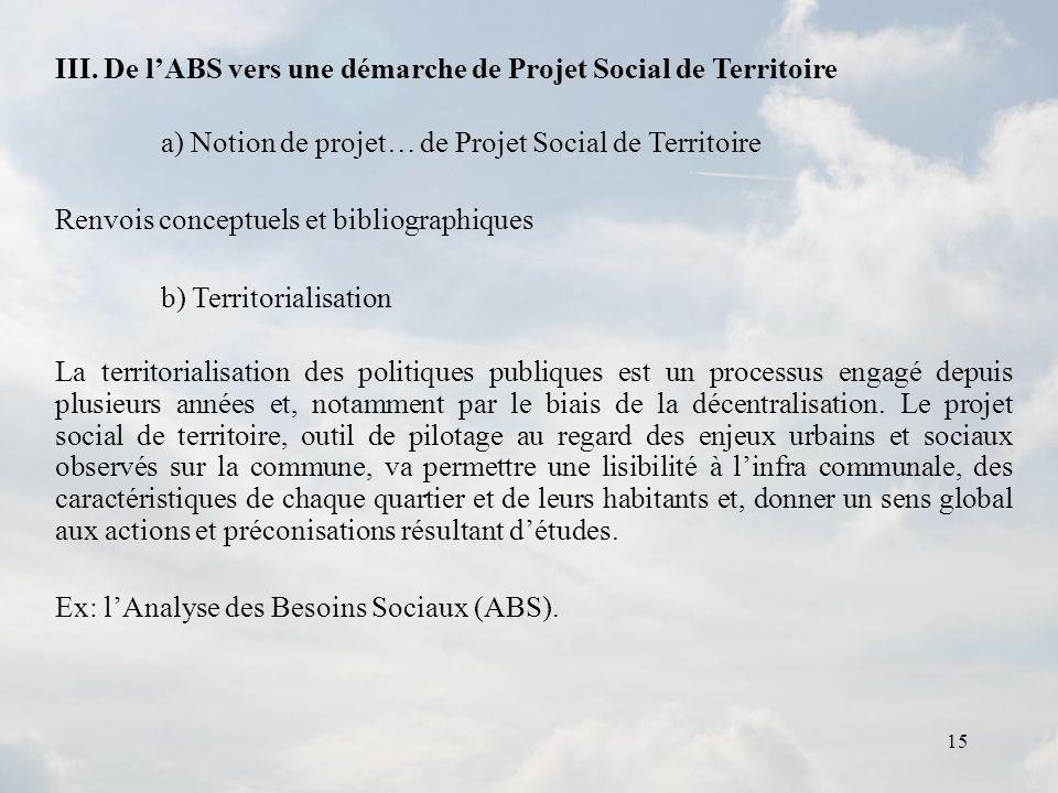 15 III. De lABS vers une démarche de Projet Social de Territoire a) Notion de projet… de Projet Social de Territoire Renvois conceptuels et bibliograp