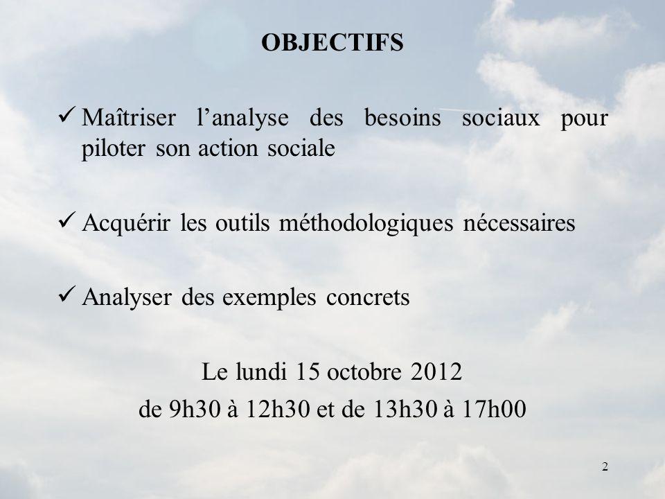 2 OBJECTIFS Maîtriser lanalyse des besoins sociaux pour piloter son action sociale Acquérir les outils méthodologiques nécessaires Analyser des exempl