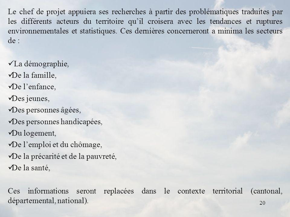 20 Le chef de projet appuiera ses recherches à partir des problématiques traduites par les différents acteurs du territoire quil croisera avec les ten