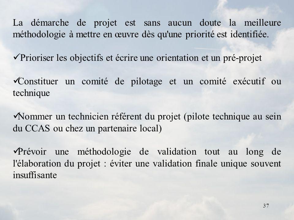 37 La démarche de projet est sans aucun doute la meilleure méthodologie à mettre en œuvre dès qu'une priorité est identifiée. Prioriser les objectifs