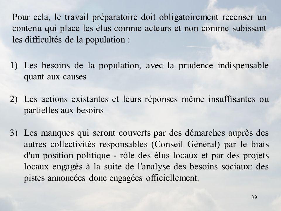 39 1)Les besoins de la population, avec la prudence indispensable quant aux causes 2)Les actions existantes et leurs réponses même insuffisantes ou pa