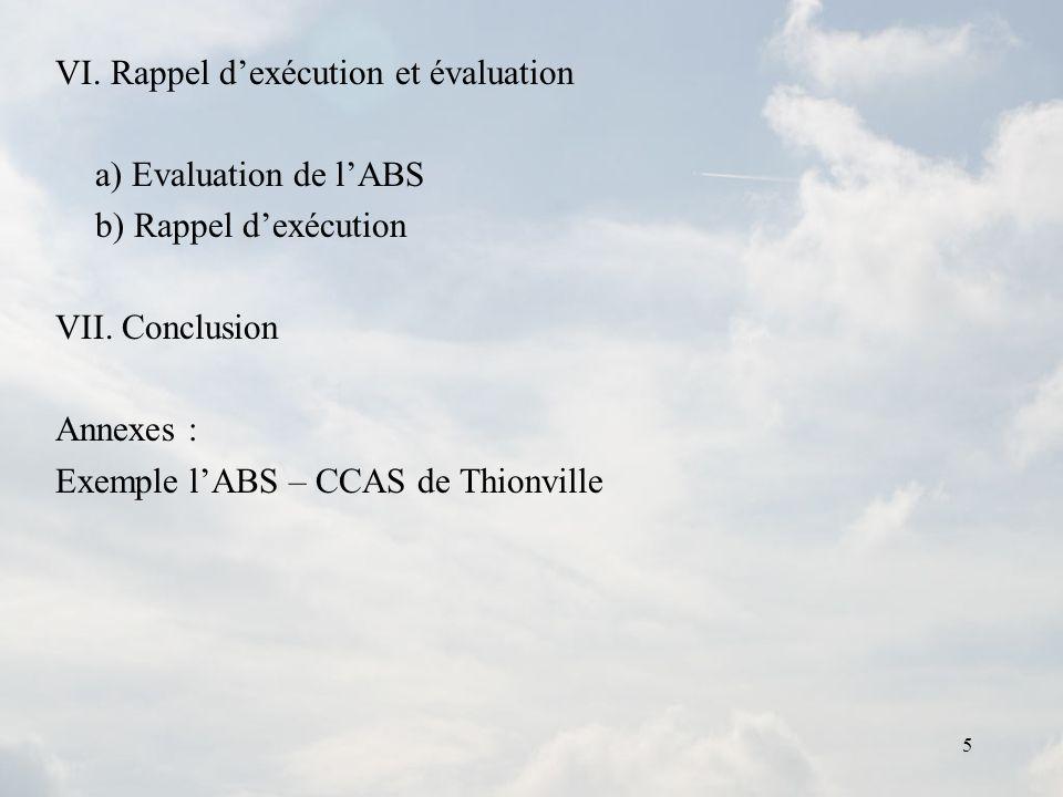 5 VI. Rappel dexécution et évaluation a) Evaluation de lABS b) Rappel dexécution VII. Conclusion Annexes : Exemple lABS – CCAS de Thionville