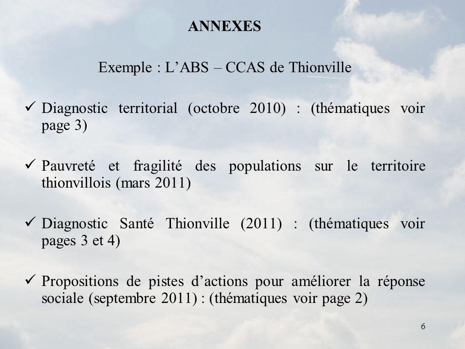 6 ANNEXES Exemple : LABS – CCAS de Thionville Diagnostic territorial (octobre 2010) : (thématiques voir page 3) Pauvreté et fragilité des populations