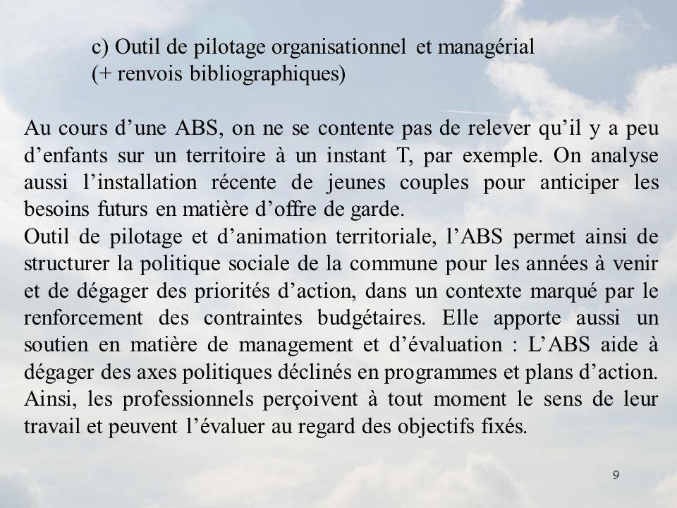9 c) Outil de pilotage organisationnel et managérial (+ renvois bibliographiques) Au cours dune ABS, on ne se contente pas de relever quil y a peu den