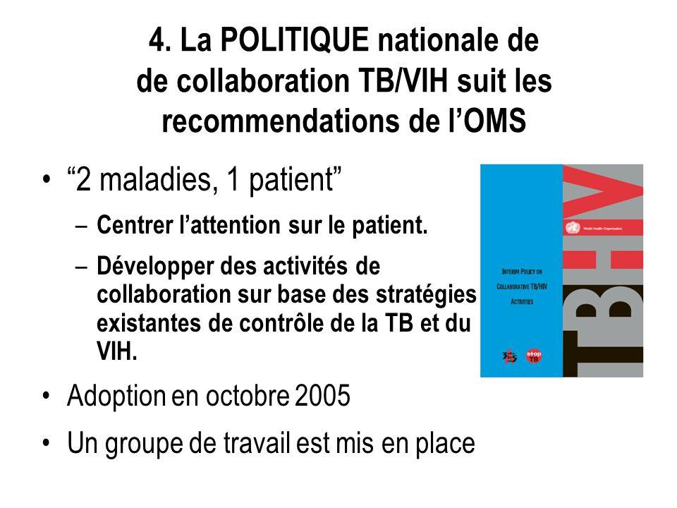 4. La POLITIQUE nationale de de collaboration TB/VIH suit les recommendations de lOMS 2 maladies, 1 patient – Centrer lattention sur le patient. – Dév