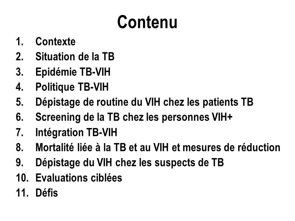 Contenu 1.Contexte 2.Situation de la TB 3.Epidémie TB-VIH 4.Politique TB-VIH 5.Dépistage de routine du VIH chez les patients TB 6.Screening de la TB chez les personnes VIH+ 7.Intégration TB-VIH 8.Mortalité liée à la TB et au VIH et mesures de réduction 9.Dépistage du VIH chez les suspects de TB 10.Evaluations ciblées 11.Défis