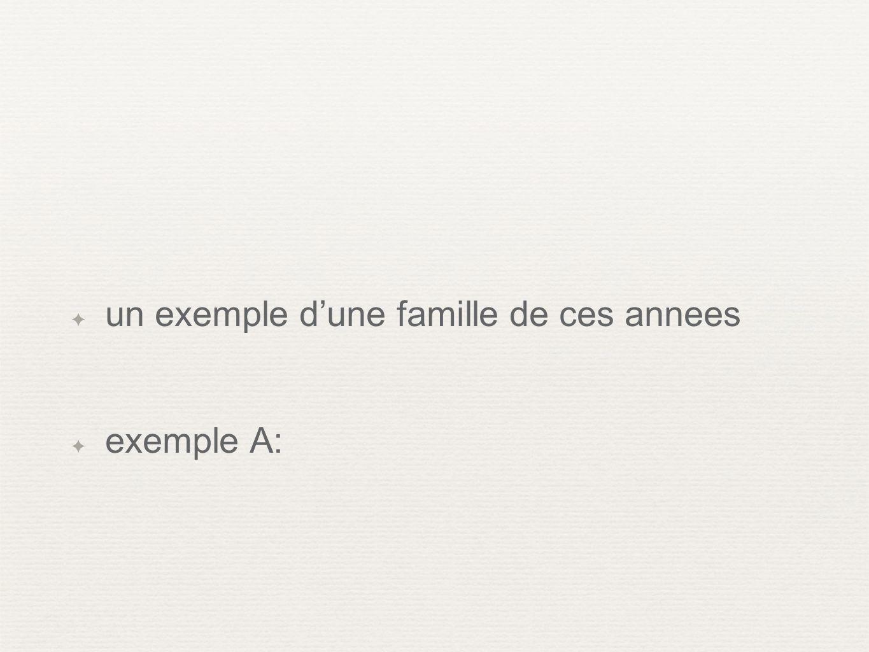 un exemple dune famille de ces annees exemple A: