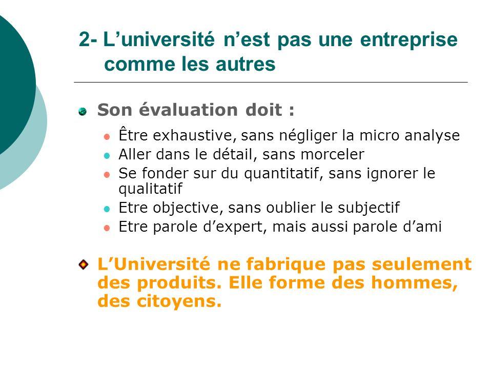 2- Luniversité nest pas une entreprise comme les autres Son évaluation doit : Être exhaustive, sans négliger la micro analyse Aller dans le détail, sa