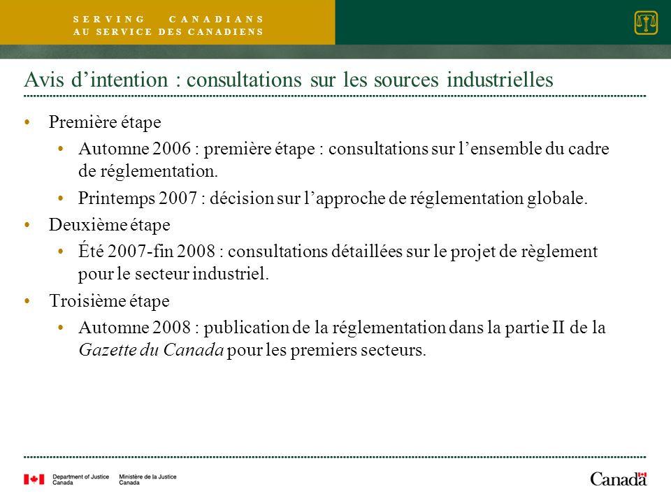 S E R V I N G C A N A D I A N S A U S E R V I C E D E S C A N A D I E N S Avis dintention : consultations sur les sources industrielles Première étape Automne 2006 : première étape : consultations sur lensemble du cadre de réglementation.
