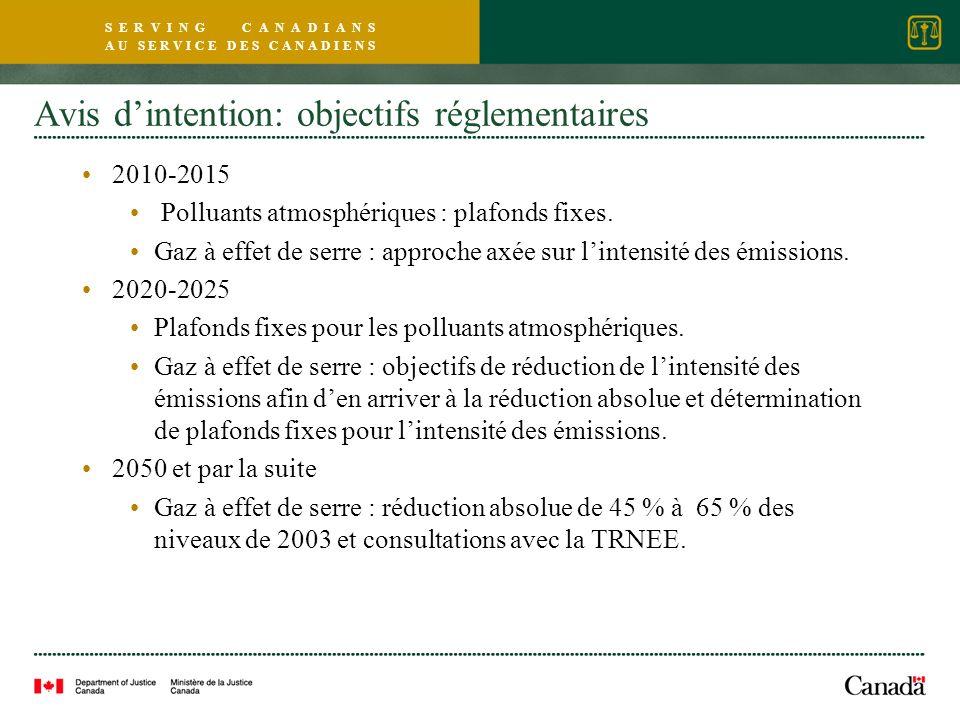 S E R V I N G C A N A D I A N S A U S E R V I C E D E S C A N A D I E N S Avis dintention: objectifs réglementaires 2010-2015 Polluants atmosphériques : plafonds fixes.