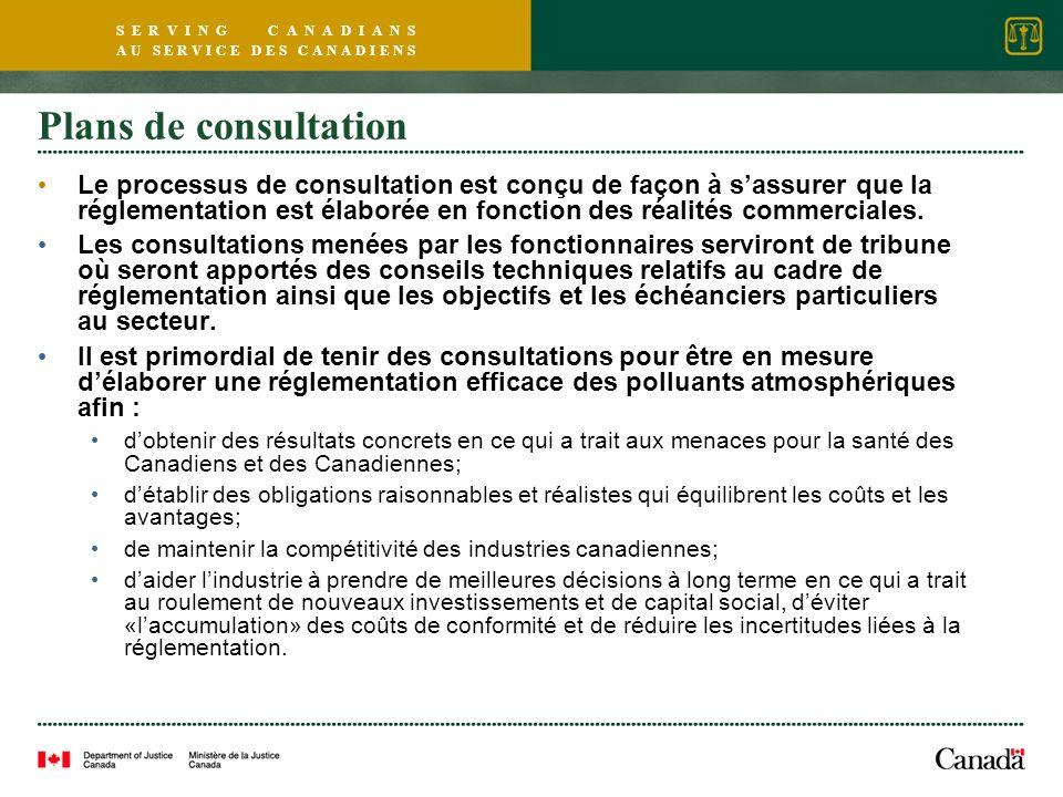 S E R V I N G C A N A D I A N S A U S E R V I C E D E S C A N A D I E N S Plans de consultation Le processus de consultation est conçu de façon à sassurer que la réglementation est élaborée en fonction des réalités commerciales.
