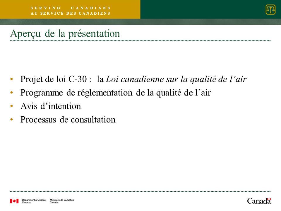 S E R V I N G C A N A D I A N S A U S E R V I C E D E S C A N A D I E N S Aperçu de la présentation Projet de loi C-30 : la Loi canadienne sur la qualité de lair Programme de réglementation de la qualité de lair Avis dintention Processus de consultation