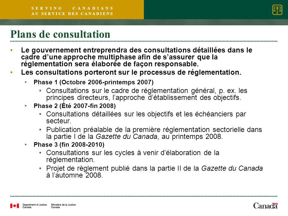 S E R V I N G C A N A D I A N S A U S E R V I C E D E S C A N A D I E N S Plans de consultation Le gouvernement entreprendra des consultations détaillées dans le cadre dune approche multiphase afin de sassurer que la réglementation sera élaborée de façon responsable.
