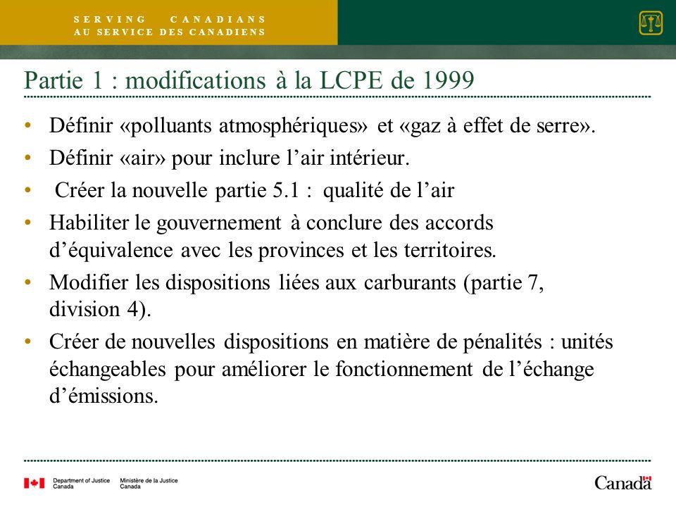S E R V I N G C A N A D I A N S A U S E R V I C E D E S C A N A D I E N S Partie 1 : modifications à la LCPE de 1999 Définir «polluants atmosphériques» et «gaz à effet de serre».