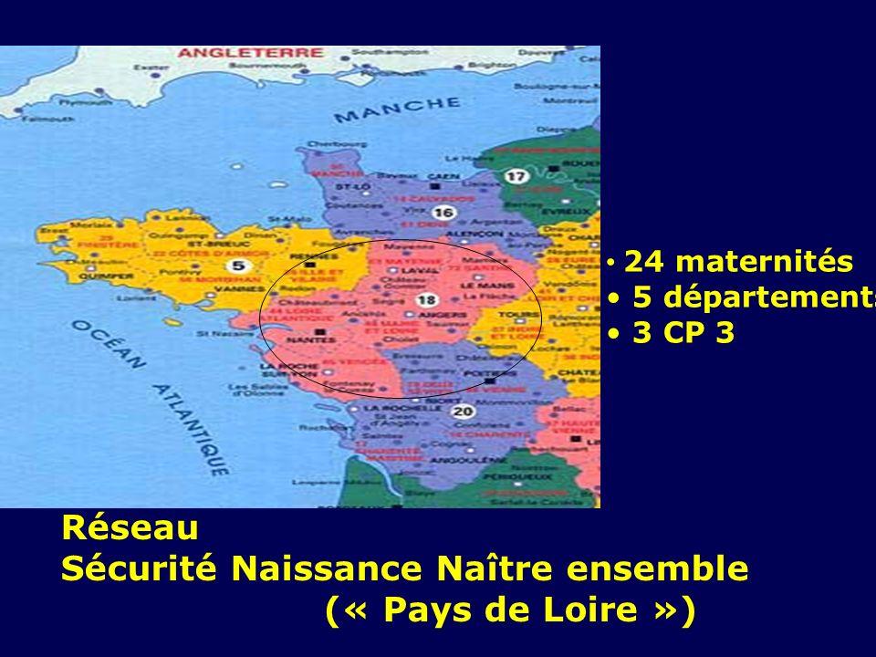 Réseau Sécurité Naissance Naître ensemble (« Pays de Loire ») 24 maternités 5 départements 3 CP 3