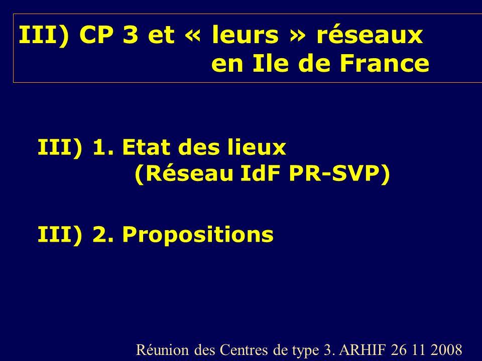 III) CP 3 et « leurs » réseaux en Ile de France III) 1. Etat des lieux (Réseau IdF PR-SVP) III) 2. Propositions Réunion des Centres de type 3. ARHIF 2