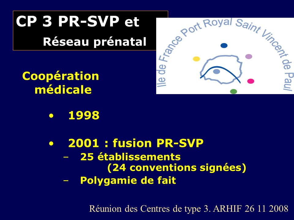 CP 3 PR-SVP et Réseau prénatal 1998 2001 : fusion PR-SVP –25 établissements (24 conventions signées) –Polygamie de fait Coopération médicale Réunion d