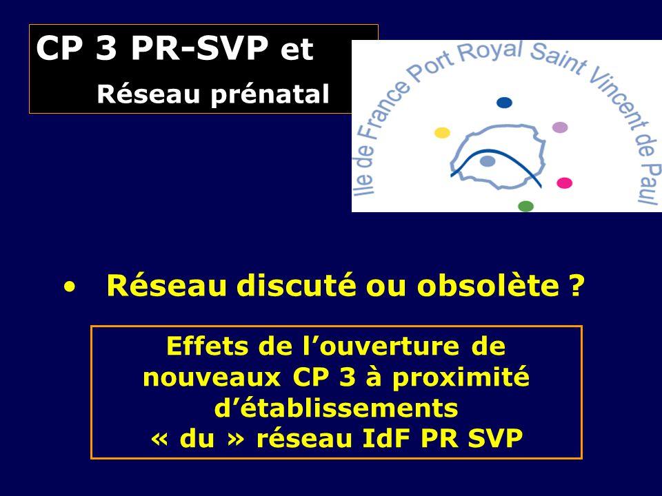 CP 3 PR-SVP et Réseau prénatal Réseau discuté ou obsolète ? Effets de louverture de nouveaux CP 3 à proximité détablissements « du » réseau IdF PR SVP