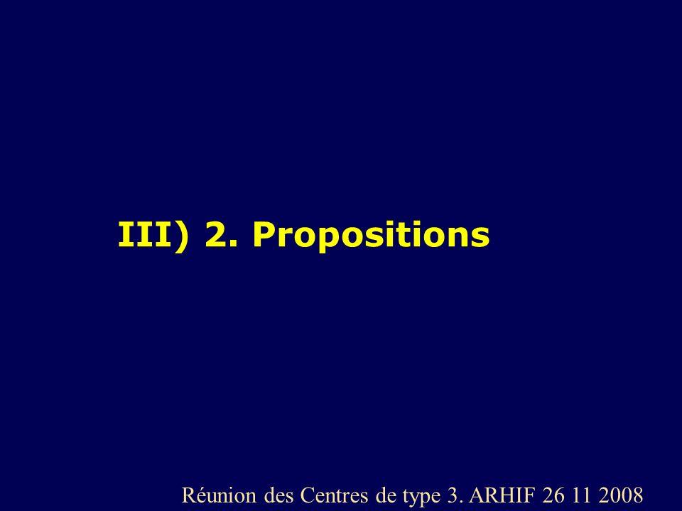 III) 2. Propositions Réunion des Centres de type 3. ARHIF 26 11 2008