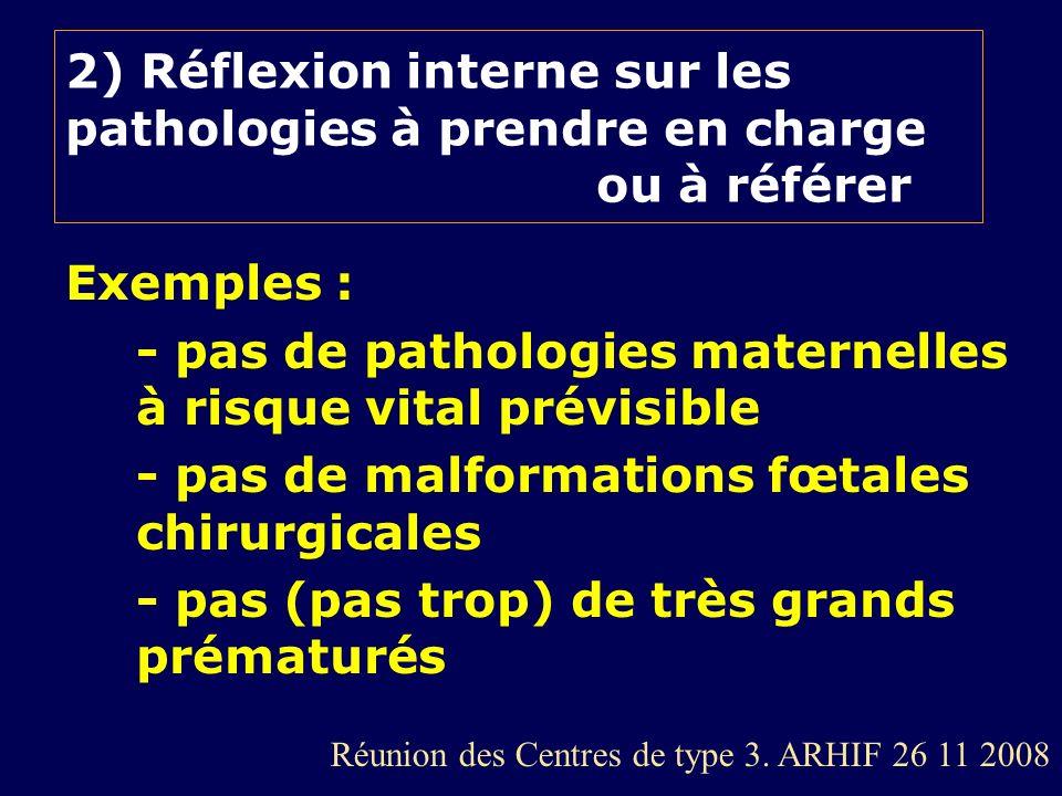 2) Réflexion interne sur les pathologies à prendre en charge ou à référer Exemples : - pas de pathologies maternelles à risque vital prévisible - pas