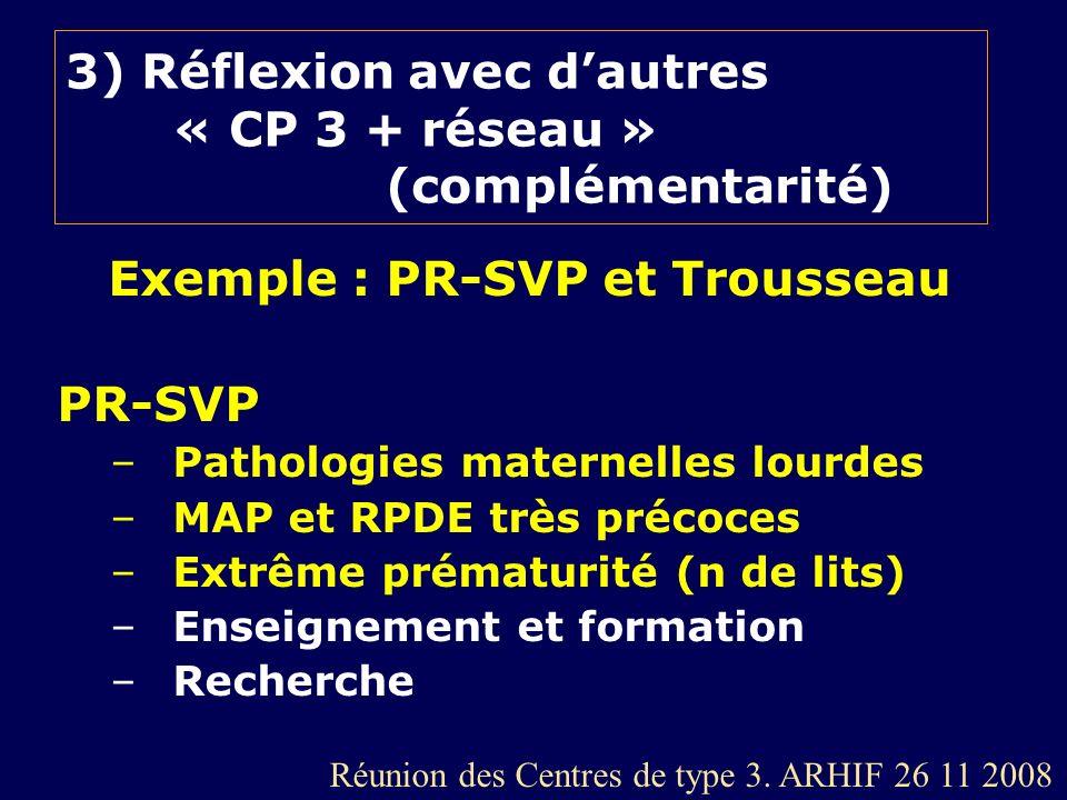 3) Réflexion avec dautres « CP 3 + réseau » (complémentarité) Exemple : PR-SVP et Trousseau PR-SVP –Pathologies maternelles lourdes –MAP et RPDE très