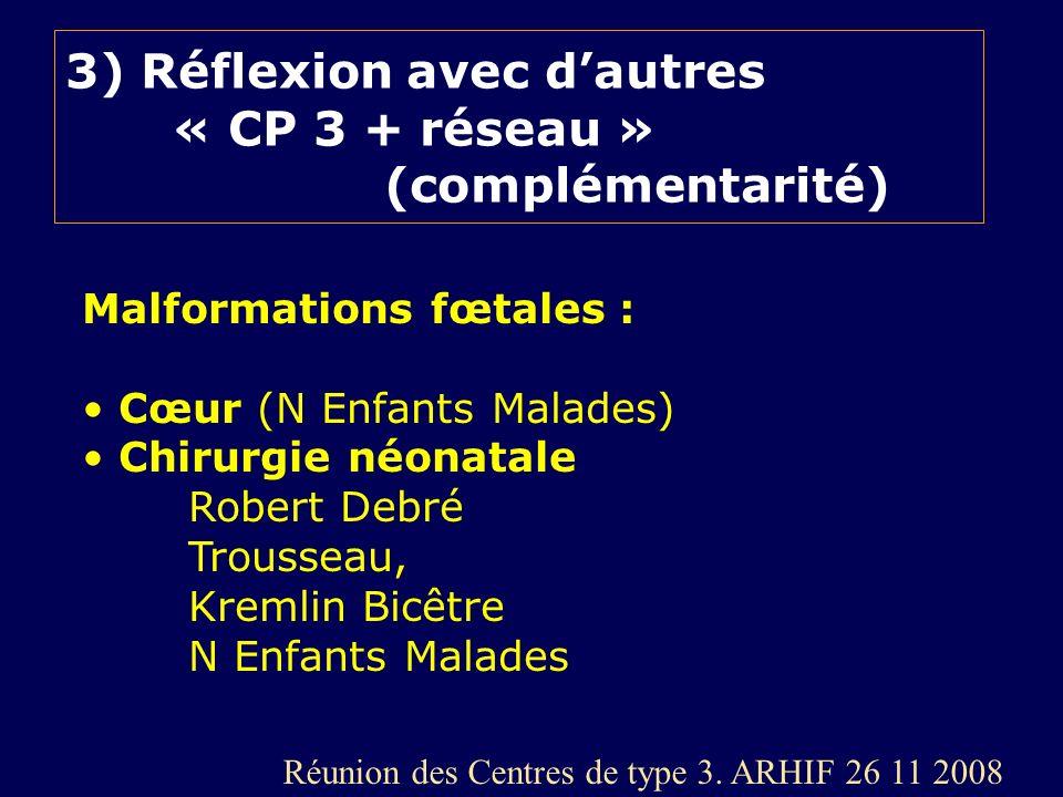 3) Réflexion avec dautres « CP 3 + réseau » (complémentarité) Malformations fœtales : Cœur (N Enfants Malades) Chirurgie néonatale Robert Debré Trouss