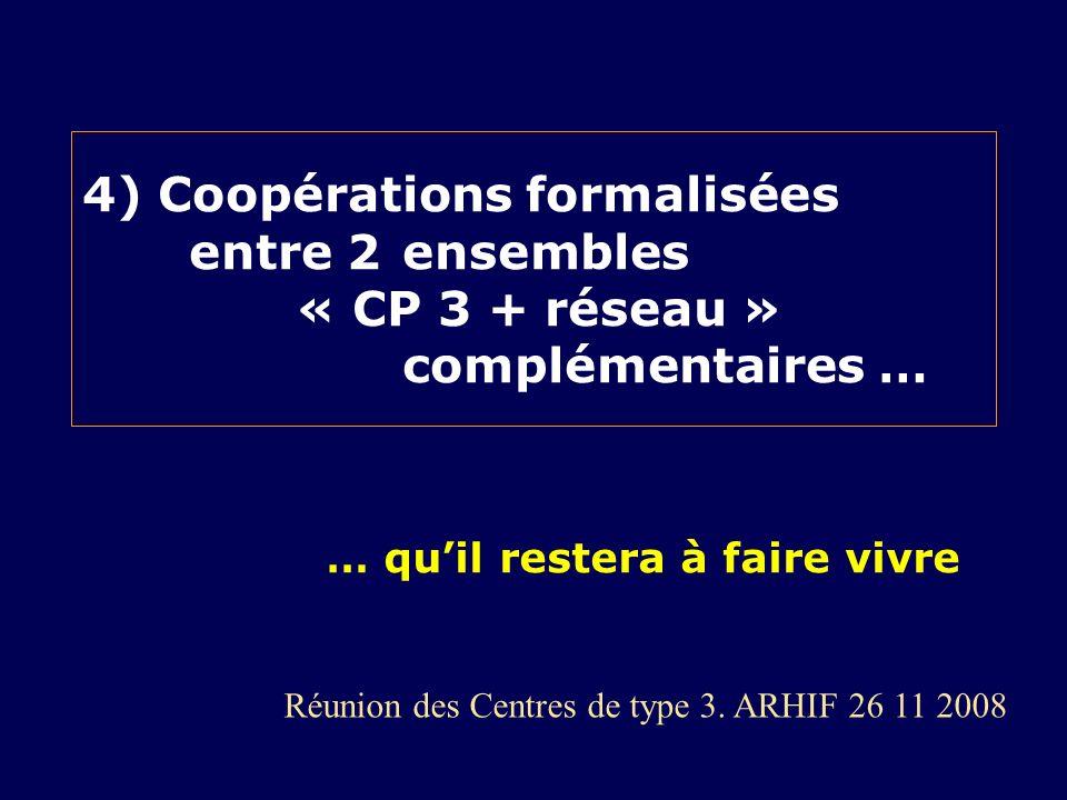 4) Coopérations formalisées entre 2 ensembles « CP 3 + réseau » complémentaires … Réunion des Centres de type 3. ARHIF 26 11 2008 … quil restera à fai