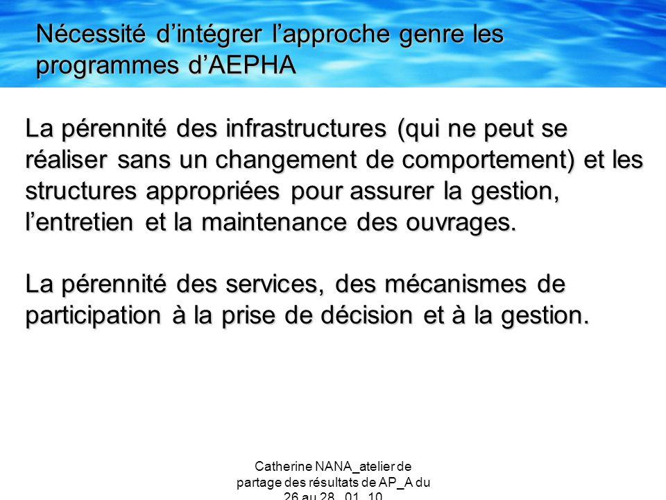 Catherine NANA_atelier de partage des résultats de AP_A du 26 au 28 _01_10 La pérennité des infrastructures (qui ne peut se réaliser sans un changemen