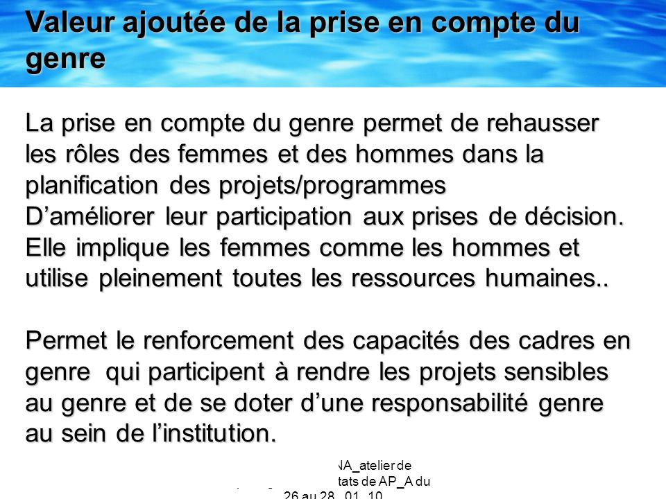 Catherine NANA_atelier de partage des résultats de AP_A du 26 au 28 _01_10 Valeur ajoutée de la prise en compte du genre La prise en compte du genre p