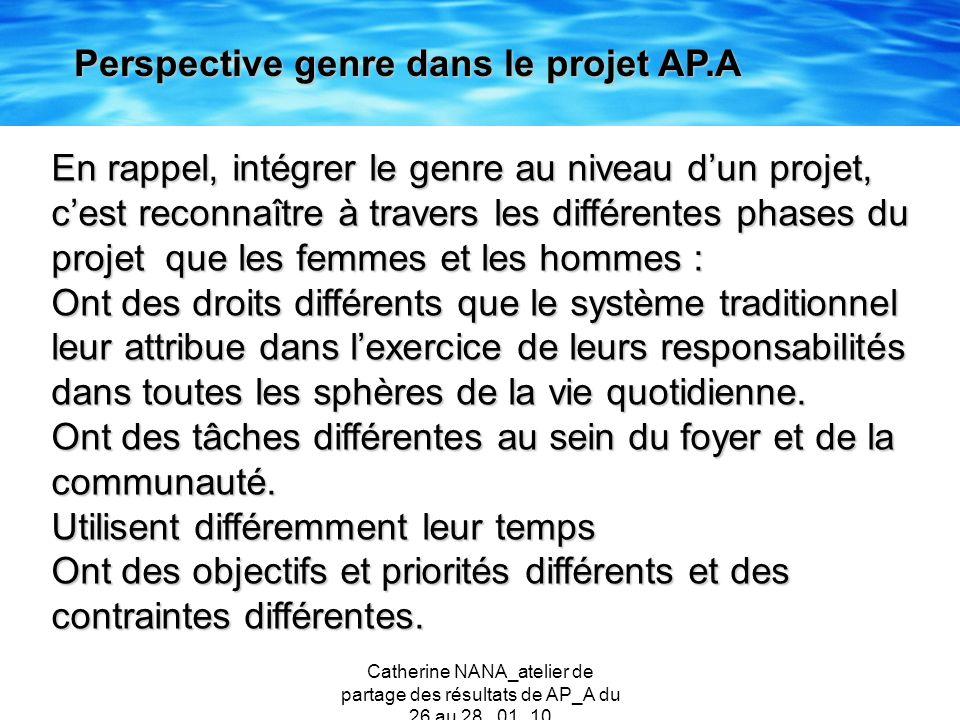 Catherine NANA_atelier de partage des résultats de AP_A du 26 au 28 _01_10 En rappel, intégrer le genre au niveau dun projet, cest reconnaître à trave